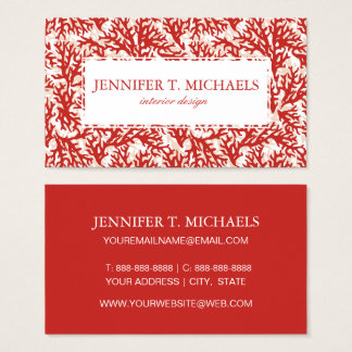 Red Coral Pattern Business Card