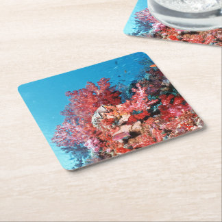 Red Coral Reef Square Paper Coaster