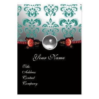 RED CORAL ROSES,GREEN BLACK WHITE DAMASK MONOGRAM LARGE BUSINESS CARD