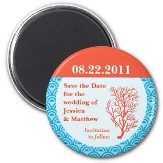 Red Coral Save the Date Magnet
