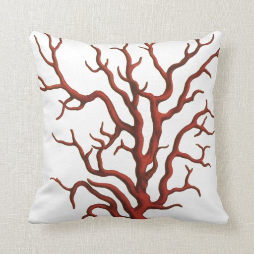 Red Coral throw pillow Zazzle