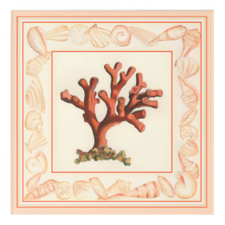 Red Coral with Conch Shell Border Acrylic Wall Art