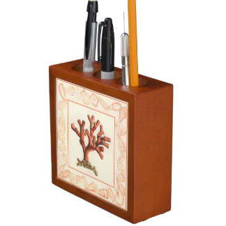 Red Coral with Conch Shell Border Desk Organizers