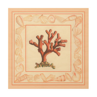 Red Coral with Conch Shell Border Wood Print