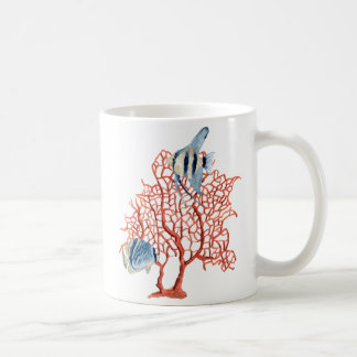 Red Coral with Tropical Fish Angelfish Watercolor Mugs