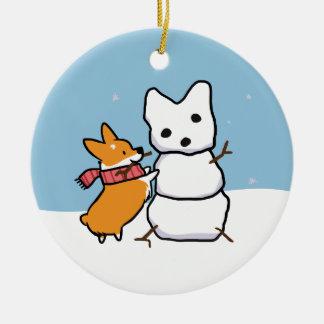 Red Corgi Snowman Ornament | CorgiThings