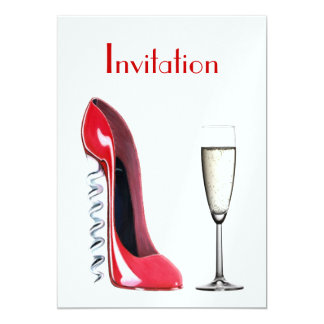 Red Corkscrew Stiletto Shoe and Champagne Glass In Card