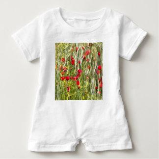 Red Corn Poppies Baby Romper