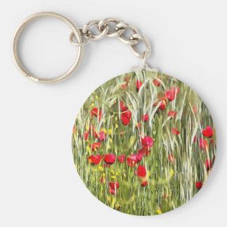 Red Corn Poppies Basic Round Button Keychain