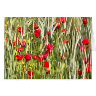 Red Corn Poppies Card