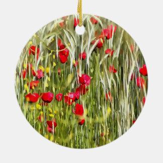Red Corn Poppies Ceramic Ornament