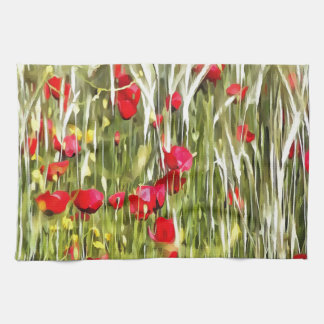Red Corn Poppies Hand Towel