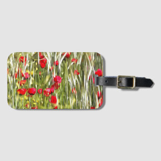 Red Corn Poppies Luggage Tag