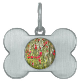 Red Corn Poppies Pet Tag