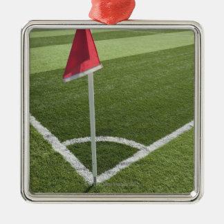 Red corner flag on soccer field metal ornament