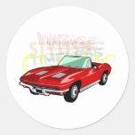 Red Corvette Stingray or Sting Ray sports car Classic Round Sticker
