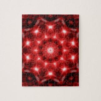 Red Cosmos Mandala Jigsaw Puzzle