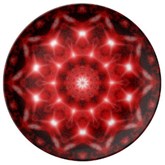 Red Cosmos Mandala Plate