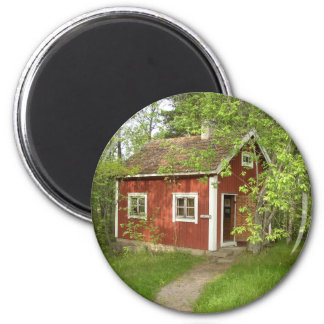 Red Cottage Round Magnet