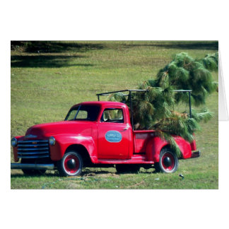 Red Country Chevy Pickup Christmas Tree Card