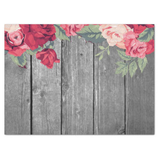 Red Country Floral Flower on Rustic Wood Tissue Paper