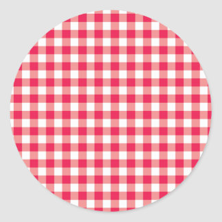 Red Country Gingham Check Pattern Round Sticker