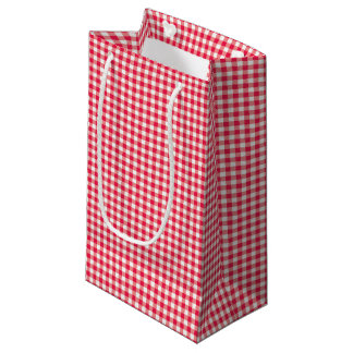 Red Country Gingham Check Pattern Small Gift Bag