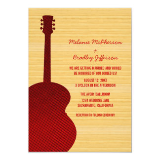 Red Country Guitar Wedding Invitation