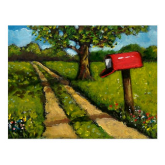 Red Country Mailbox: Oil Painting Postcard