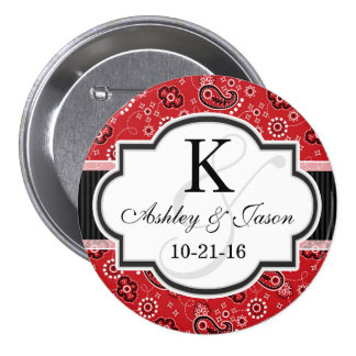 Red Country Paisley Wedding 3 Inch Round Button