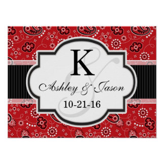 Red Country Paisley Wedding Poster