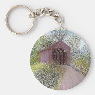 Red Covered Bridge Basic Round Button Keychain