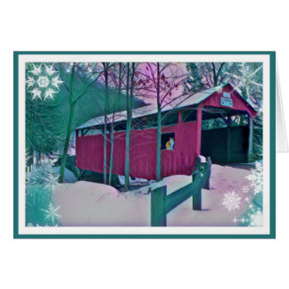 Red Covered Bridge Greeting Card