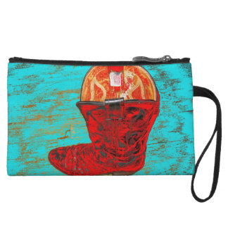 Red Cowboy Boot Mini Clutch, Distressed Turquoise Wristlet