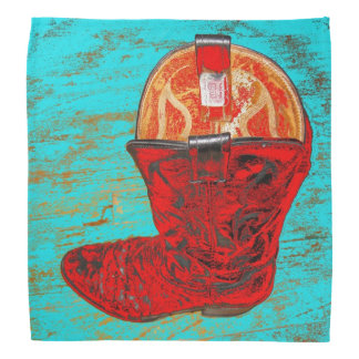 Red Cowboy Boot on Distressed Turquoise Bandana