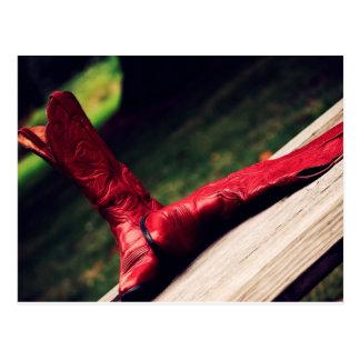 Red Cowboy Boots Postcard