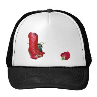 Red Cowboy Boots, Red Roses, Pug Dog & Scissors Trucker Hat