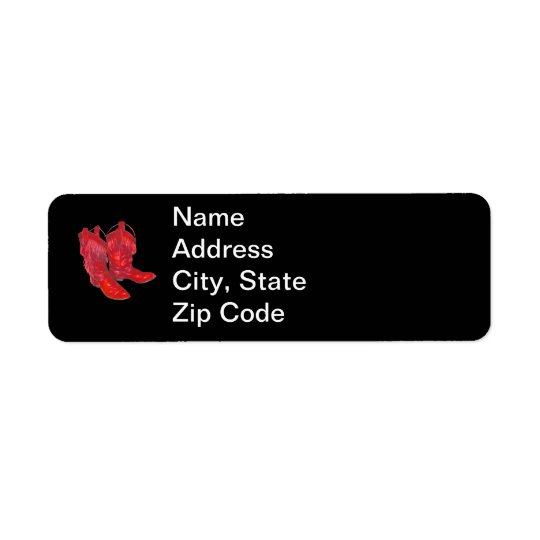 Red Cowboy Boots Return Address Label