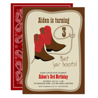 Red Cowboy Boots Western Birthday Party Card