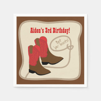 Red Cowboy Boots Western Birthday Party Paper Napkin
