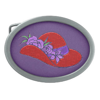 Red Cowgirl Hat Cameo Belt Buckle