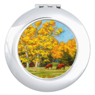 Red Cows under Yellow Fall Compact Mirror