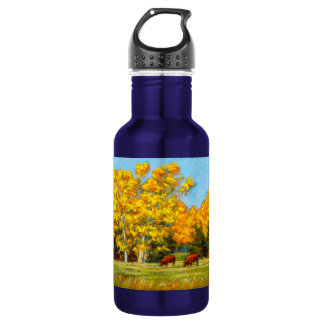 Red Cows under Yellow Fall Water Bottle