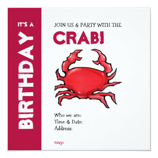 Red Crab Birthday Invitation