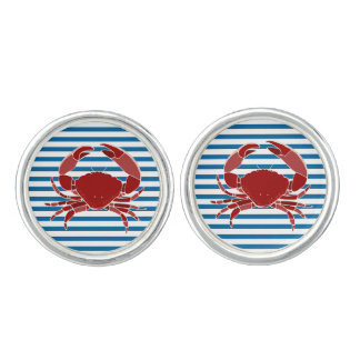 Red Crab Blue and WhiteStripe Cuff Links