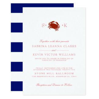 Red Crab   Blue Stripes Wedding Invitation
