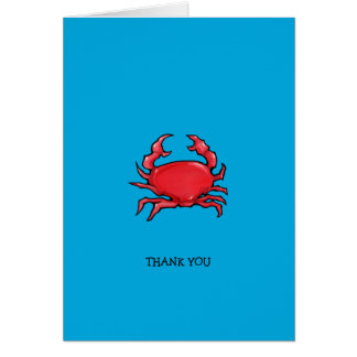 Red Crab blue Thank You Note Card
