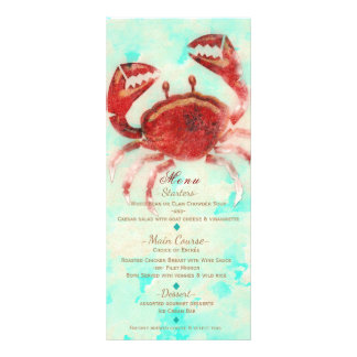 Red Crab Elegant Beach Engagement Custom Menu Card