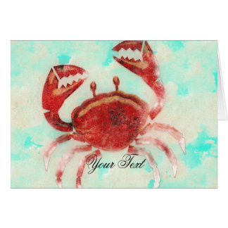 Red Crab Elegant Beach Engagement Thank You Card