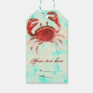 Red Crab Elegant Beach Party Engagement Favor Gift Tags